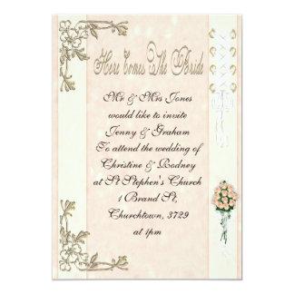 Here Comes The Bride 5x7 Paper Invitation Card