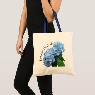 Here Comes the Bride Blue Floral Tote Bag