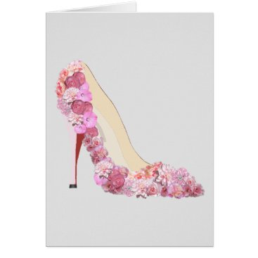 McTiffany Tiffany Aqua Here Comes The Bride Floral Heels Note Cards