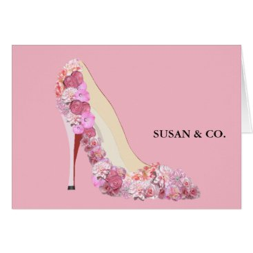 McTiffany Tiffany Aqua Here Comes The Bride Floral Heels Pink Note Cards