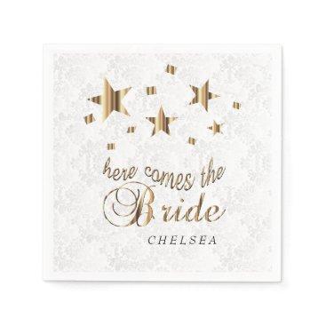Bride Themed Here Comes the Bride  - Gold Stars Napkin