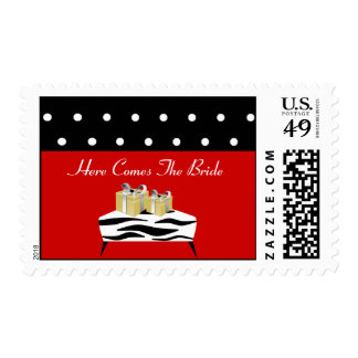 Here Comes the Bride Red and Black Postage