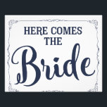 "here comes the bride wedding sign navy blue<br><div class=""desc"">here comes the bride wedding sign navy blue</div>"