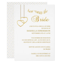 Here Comes the Bride - White & Gold Invitation