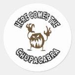 Here comes the chupacabra classic round sticker
