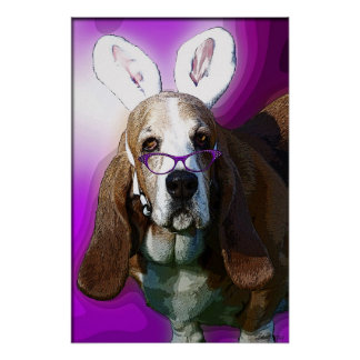 Here Comes the Easter Basset Poster