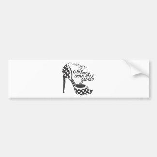 Here Comes the girls_SHOE.ai Car Bumper Sticker