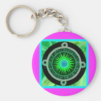 Here comes the sun basic round button keychain