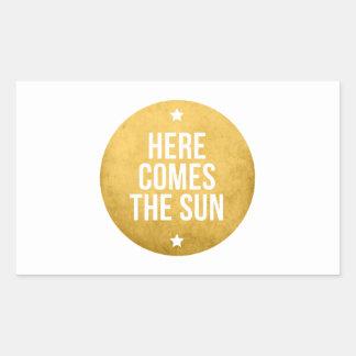 here comes the sun, word art, text design rectangular sticker