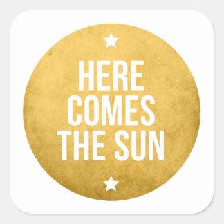 here comes the sun, word art, text design square sticker