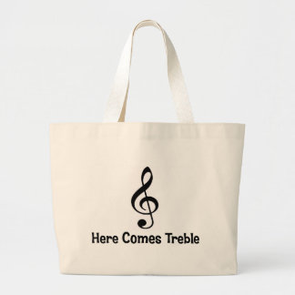 Here Comes Treble. Large Tote Bag