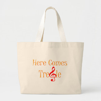 Here Comes Treble Note For Musicians Canvas Bags