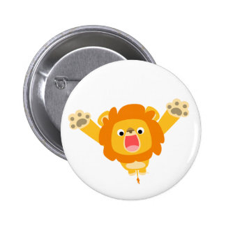 Here comes Trouble (cartoon Lion) button badge