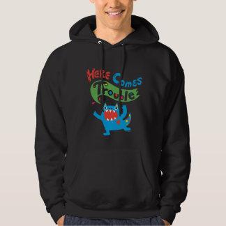 Here Comes Trouble monster hoodie on dark