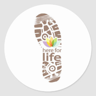 Here for Life Shoe Logo. Classic Round Sticker