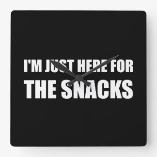 Here For The Snacks Square Wall Clock