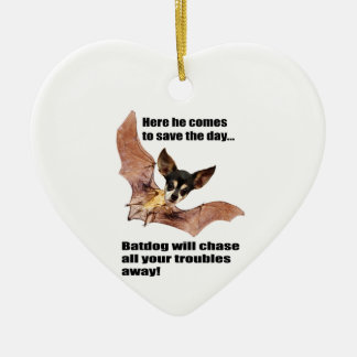 Here he comes to save the day batdog. ceramic ornament
