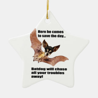 Here he comes to save the day batdog ornament