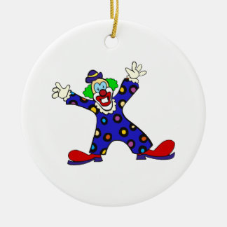 Here I Am Clown Double-Sided Ceramic Round Christmas Ornament