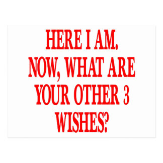 Here I Am Now What Are Your Other 3 Wishes Postcard
