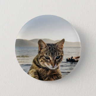 """Here I am"" says the Cat Pinback Button"