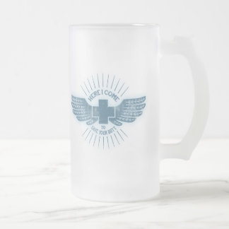 Here I Come Frosted Glass Beer Mug