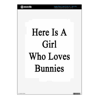Here Is A Girl Who Loves Bunnies iPad 3 Decal