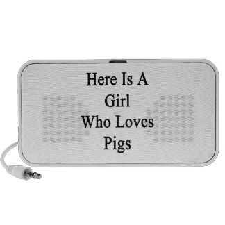 Here Is A Girl Who Loves Pigs Laptop Speaker