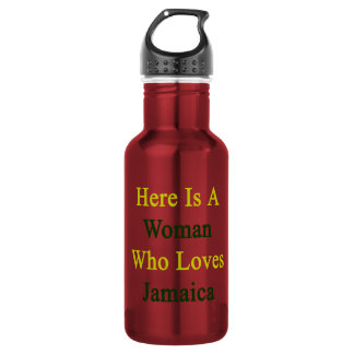 Here Is A Woman Who Loves Jamaica 18oz Water Bottle