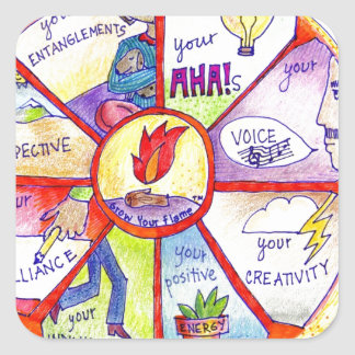 Here is our Bring Yourself to Work Wheel design Square Sticker