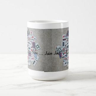 here joker- beige mah jongg mug- ribbon tiles coffee mug
