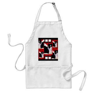 Here Kitty Cat  on Red, White & Black Adult Apron