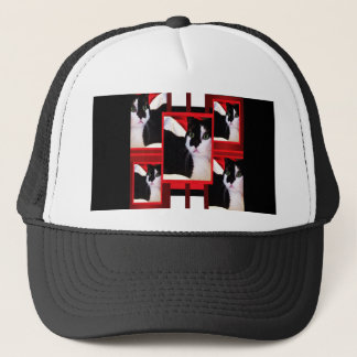 Here Kitty Cat  on Red, White & Black Trucker Hat