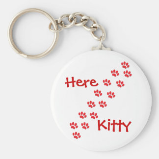 Here Kitty Cat Paws Basic Round Button Keychain