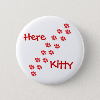 Here Kitty Cat Paws Button