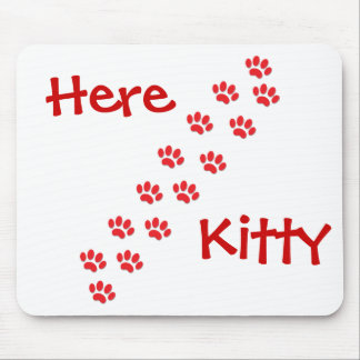 Here Kitty Cat Paws Mouse Pad