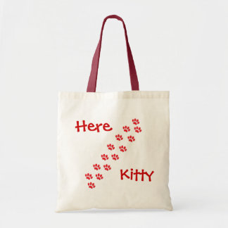 Here Kitty Cat Paws Tote Bag