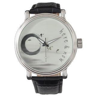 Here & Now / Zen Circle Enso Koi Brush Painting Wristwatches