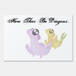 Here thar be dragons sign