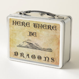 Here There Be Dragons Metal Lunch Box