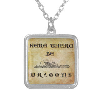Here There Be Dragons Silver Plated Necklace