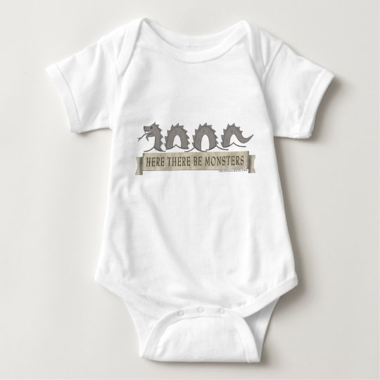Here There Be Monsters Baby Bodysuit