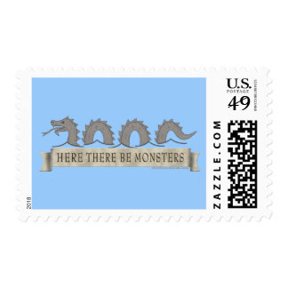 Here There Be Monsters Stamp