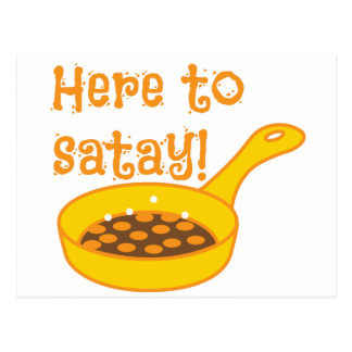 Here to SATAY cooking in a fry pan Postcard