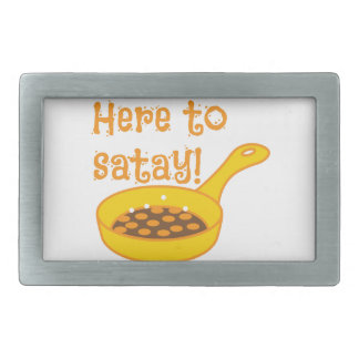 Here to SATAY cooking in a fry pan Rectangular Belt Buckle