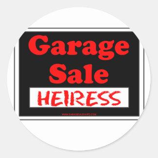 Heredera de la venta de garaje etiqueta redonda