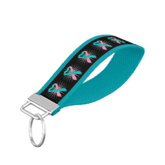 Hereditary Breast Cancer Awareness Heart Ribbon Wrist Keychain