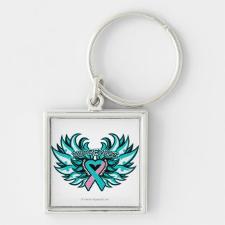 Hereditary Breast Cancer Awareness Heart Wings.png Silver-Colored Square Keychain