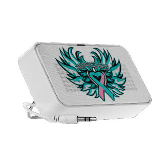 Hereditary Breast Cancer Awareness Heart Wings Portable Speakers