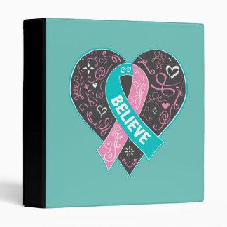 Hereditary Breast Cancer Believe Ribbon Heart Binder